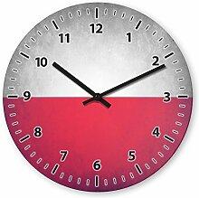 Wanduhr mit Motiv - Polen Flagge - aus Echt-Glas | runde Küchen-Uhr | große Uhr modern