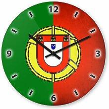 Wanduhr mit Motiv - Portugal Flagge - aus Echt-Glas | runde Küchen-Uhr | große Uhr modern