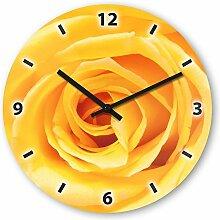 Wanduhr mit Motiv - Rose gelb - aus Echt-Glas | runde Küchen-Uhr | große Uhr modern