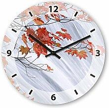Wanduhr mit Motiv - rote Blätter - aus Echt-Glas | runde Küchen-Uhr | große Uhr modern