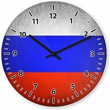 Wanduhr mit Motiv - Russland Flagge - aus Echt-Glas | runde Küchen-Uhr | große Uhr modern