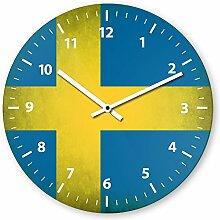 Wanduhr mit Motiv - Schweden Flagge - aus Echt-Glas | runde Küchen-Uhr | große Uhr modern