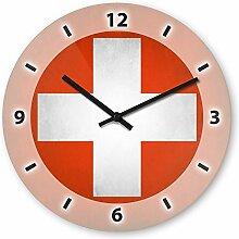 Wanduhr mit Motiv - Schweiz Flagge - aus Echt-Glas | runde Küchen-Uhr | große Uhr modern