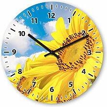 Wanduhr mit Motiv - Sonnenblume - aus Echt-Glas | runde Küchen-Uhr | große Uhr modern