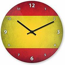 Wanduhr mit Motiv - Spanien Flagge - aus Echt-Glas | runde Küchen-Uhr | große Uhr modern