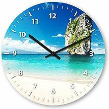 Wanduhr mit Motiv - Thailand Strand - aus Echt-Glas | runde Küchen-Uhr | große Uhr modern