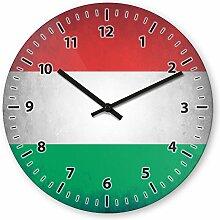 Wanduhr mit Motiv - Ungarn Flagge - aus Echt-Glas | runde Küchen-Uhr | große Uhr modern