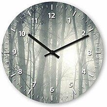 Wanduhr mit Motiv - Wald - aus Echt-Glas | runde Küchen-Uhr | große Uhr modern