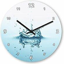 Wanduhr mit Motiv - Wassertropfen - aus Echt-Glas | runde Küchen-Uhr | große Uhr modern