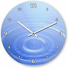 Wanduhr mit Motiv - Wassertropfen blau - aus Echt-Glas | runde Küchen-Uhr | große Uhr modern