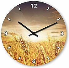 Wanduhr mit Motiv - Weizen - aus Echt-Glas | runde Küchen-Uhr | große Uhr modern
