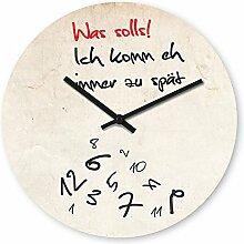 Wanduhr mit Motiv - Zu spät - aus Echt-Glas | runde Küchen-Uhr | große Uhr modern