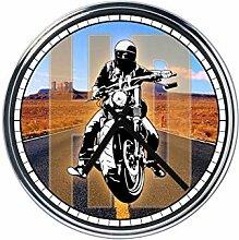 Wanduhr Mit Motorradfahrer Route 66