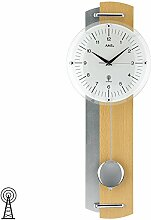 Wanduhr mit Pendel Funk buche-silber lackierte Holzrückwand