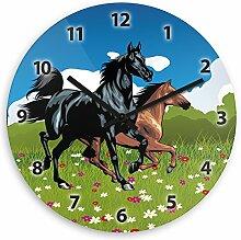 Wanduhr mit Pferde-Motiv für Kinder | Kinderzimmer-Uhr | Kinder-Uhr