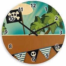 Wanduhr mit Piraten-Motiv für Kinder | Kinderzimmer-Uhr | Kinder-Uhr