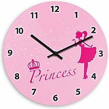 Wanduhr mit Prinzessin-Motiv für Mädchen | Kinderzimmer-Uhr | Kinder-Uhr