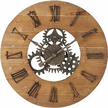 Wanduhr mit Räderwerk aus Tannenholz und
