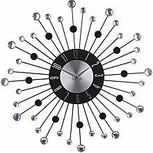 Wanduhr mit Steinen Acryl Metall Sorte wählbar Metalluhr Dekouhr silber Uhr Deko, Design:Design B