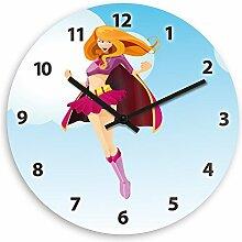 Wanduhr mit Super-Mädchen Motiv für Mädchen und Superheldinnen | Kinderzimmer-Uhr | Kinder-Uhr