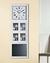Wanduhr mit Tafel + Fotorahmen aus MDF in creme