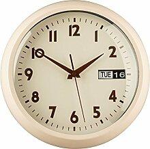 Wanduhr mit Tag & Datum Funktion Retro Design in Rot, Schwarz und Creme, Creme mit Metallrahmen
