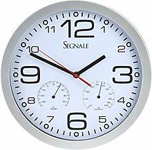 Wanduhr mit Thermometer und Hygrometer Ø30cm Farbe wählbar Küchenuhr Uhr Quartz, Farbauswahl:silber-weiß