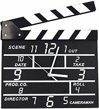 Wanduhr Modern Lautlos, Likeluk Filmklappe Clapperboard Wanduhr Vintage Quartz Wanduhr Schleichende Sekunde ohne Ticken