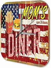 Wanduhr Mom's Diner Wand Deko Acryl Uhr Vintage Nostalgie