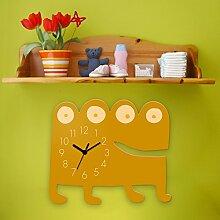 Wanduhr Monster Watchi -Gelb, Kinderuhr, Uhr für Kinderzimmer