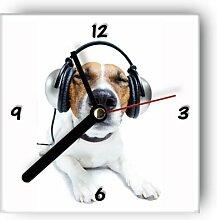 Wanduhr motivx mit Motiv -Hund mit Kopfhörer