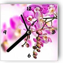 Wanduhr motivx mit Motiv -rosa Orchidee