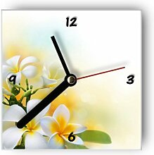 Wanduhr motivx mit Motiv - Weiße Blumen