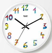 Wanduhr Multicolor Digital, Dekoration für Schlafzimmer Wohnzimmer ruhig Quarz Metallrahmen Moderne - B 12 Zoll