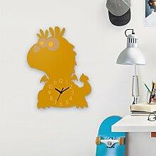 Wanduhr Niedlicher Drache-Gelb, Kinderuhr, Uhr für Kinderzimmer