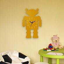 Wanduhr Niedlicher Roboter-Gelb, Kinderuhr, Uhr für Kinderzimmer