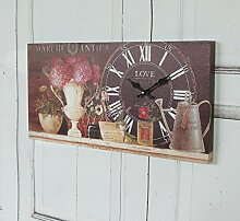 Wanduhr NOIR, antique Uhr im Shabby chic
