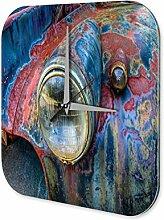 Wanduhr Nostalgie Auto Retro Lichter Auto Bunt Wand Deko Acryl Uhr