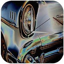 Wanduhr Nostalgie Auto Retro Oldtimer Grau Wand