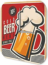 Wanduhr Nostalgie Bier Deko Kaltes Bier Acryl Uhr bedruck