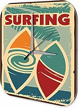 Wanduhr Nostalgie Surfing Acryl Deko Vintage Retro