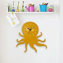 Wanduhr Octopus-Gelb, Kinderuhr, Uhr für Kinderzimmer