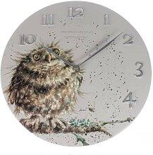 Wanduhr OWL EULE im Landhausstil rund D. 30cm grau