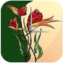 Wanduhr Pflanzen Deko Mosaik Gemälde Blume Acryl