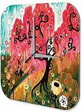 Wanduhr Pflanzen Deko Rosa Baum Acryl Wand Uhr Vintage
