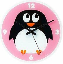 Wanduhr Pinguin pink