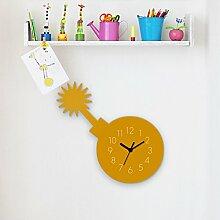 Wanduhr Piratenbombe-Gelb, Kinderuhr, Uhr für Kinderzimmer