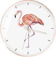 Wanduhr/Quarzuhr, Flamingomuster rund, einfache