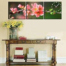 wanduhr rahmenlose dekoration pfirsichblüte leinwand gemalt wanduhr , 60*60cm