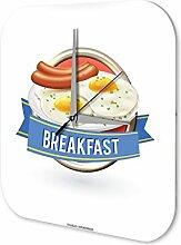Wanduhr Restaurant Küchen Deko Frühstück Wand Acryl Uhr
